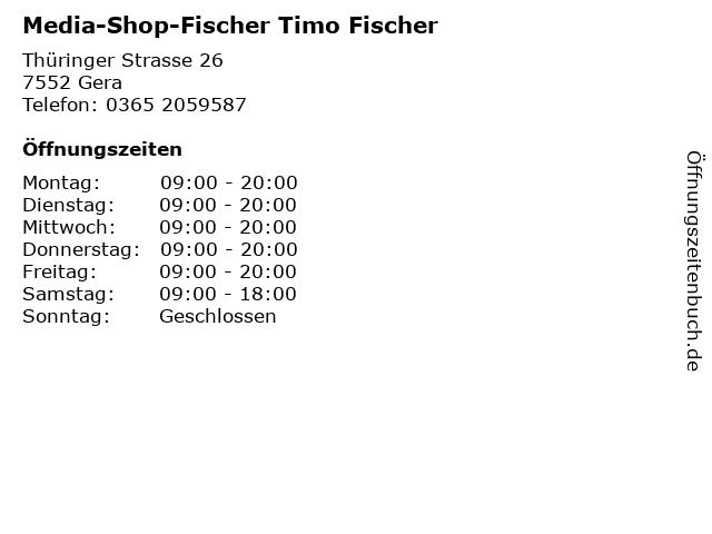 Media-Shop-Fischer Timo Fischer in Gera: Adresse und Öffnungszeiten