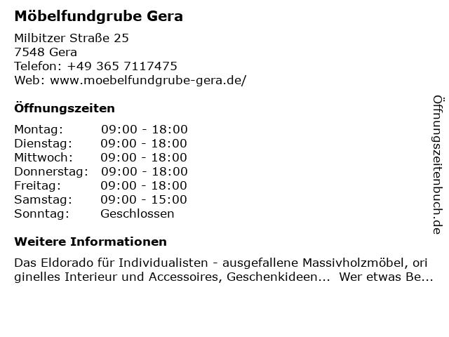 ᐅ öffnungszeiten Möbelfundgrube Milbitzer Straße 25 In Gera