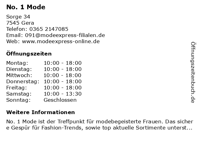 No. 1 Mode in Gera: Adresse und Öffnungszeiten