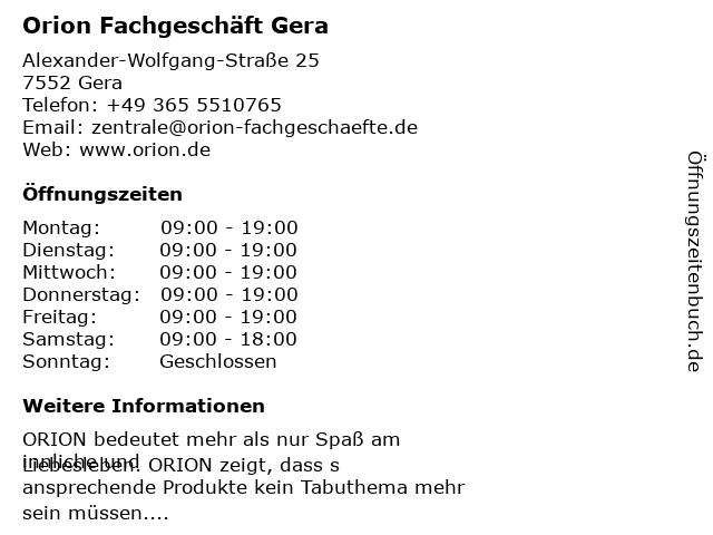 Orion Fachgeschäft Gera in Gera: Adresse und Öffnungszeiten