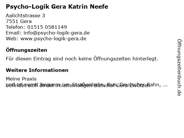 Psycho-Logik Gera Katrin Neefe in Gera: Adresse und Öffnungszeiten