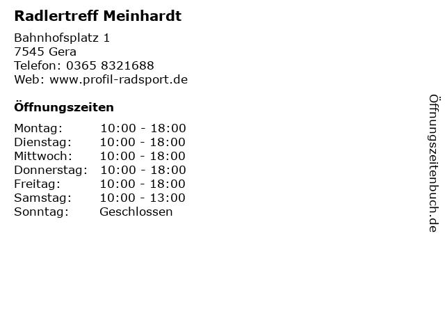 Radlertreff Meinhardt in Gera: Adresse und Öffnungszeiten