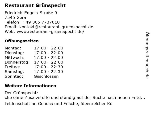 Grünspecht - Das Original in Gera: Adresse und Öffnungszeiten