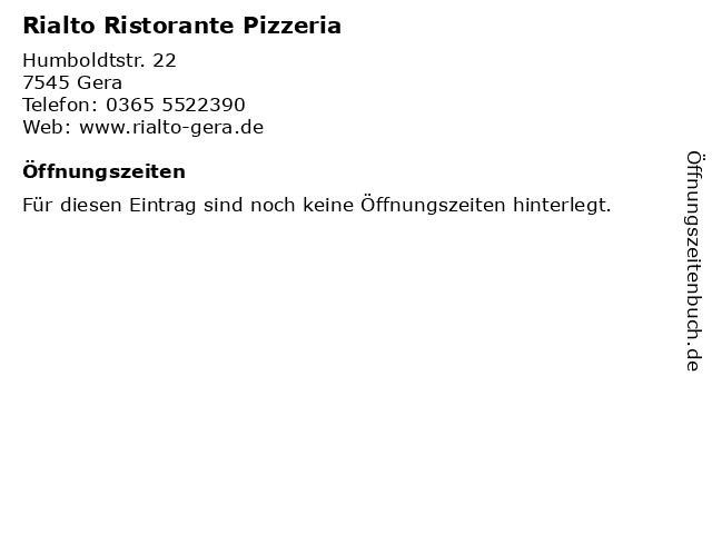 Rialto Ristorante Pizzeria in Gera: Adresse und Öffnungszeiten