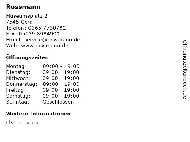 Dirk Rossmann GmbH in Gera: Adresse und Öffnungszeiten