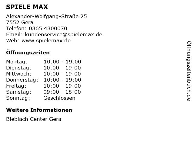 SPIELE MAX AG in Gera: Adresse und Öffnungszeiten