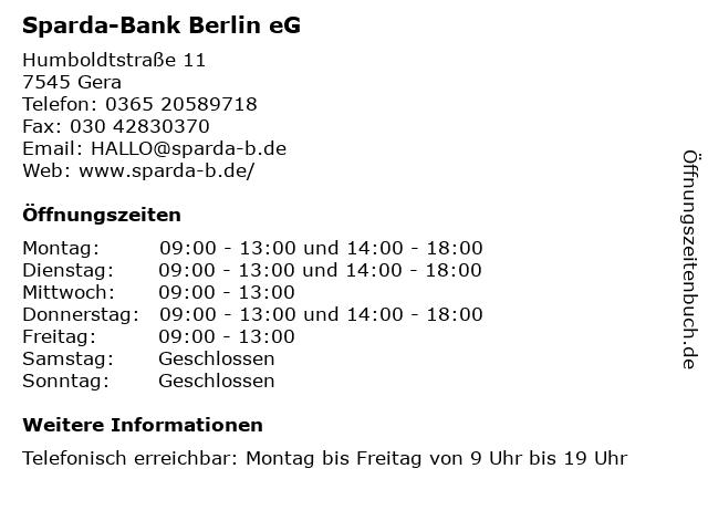 Sparda-Bank Berlin eG in Gera: Adresse und Öffnungszeiten