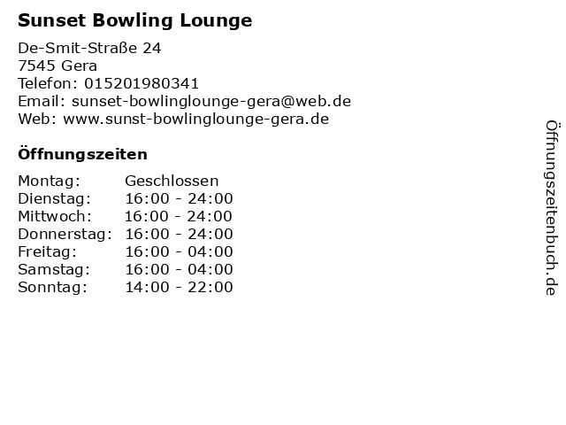 Sunset Bowling Lounge in Gera: Adresse und Öffnungszeiten