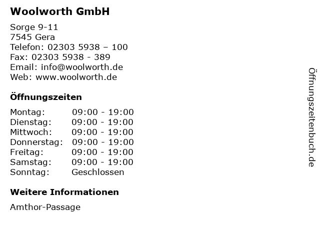 Woolworth GmbH in Gera: Adresse und Öffnungszeiten