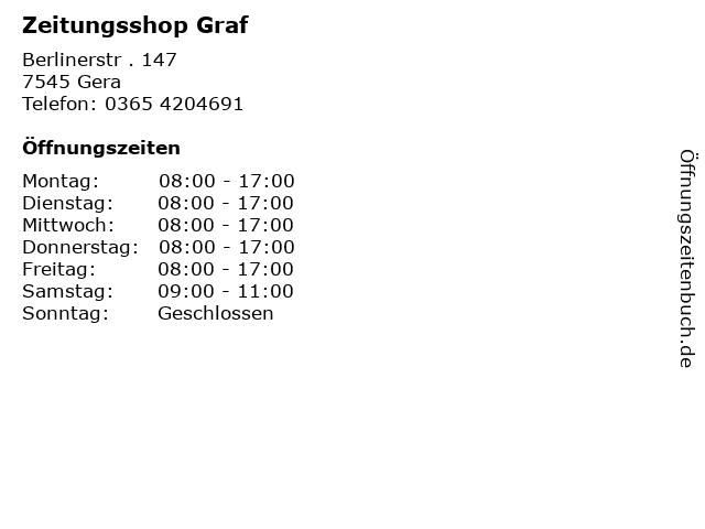Zeitungsshop Graf in Gera: Adresse und Öffnungszeiten