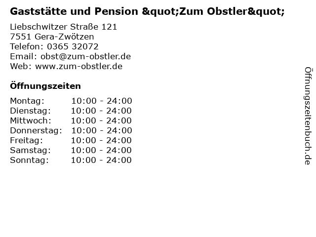 """Gaststätte und Pension """"Zum Obstler"""" in Gera-Zwötzen: Adresse und Öffnungszeiten"""