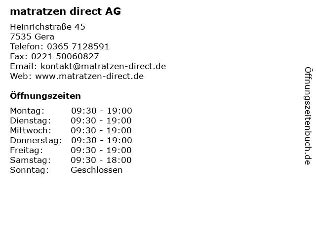 ᐅ Offnungszeiten Matratzen Direct Ag Heinrichstrasse 45