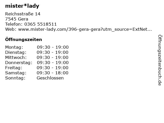 mister*lady GmbH in Gera: Adresse und Öffnungszeiten