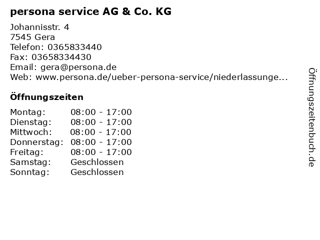 persona service AG & Co. KG in Gera: Adresse und Öffnungszeiten