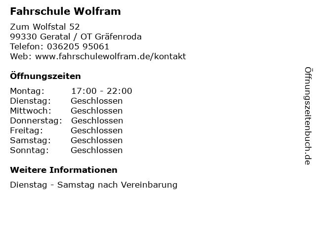 Fahrschule Wolfram in Geratal / OT Gräfenroda: Adresse und Öffnungszeiten