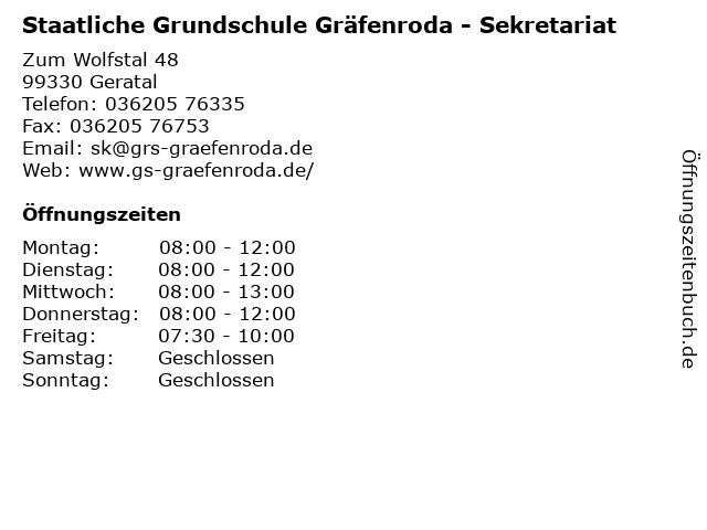 Staatliche Grundschule Gräfenroda - Sekretariat in Geratal: Adresse und Öffnungszeiten