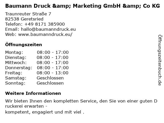 Baumann Druck & Marketing GmbH & Co KG in Geretsried: Adresse und Öffnungszeiten