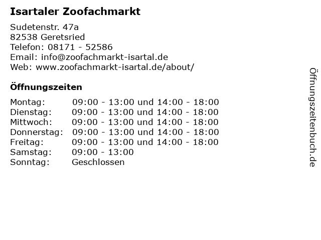 Isartaler Zoofachmarkt in Geretsried: Adresse und Öffnungszeiten