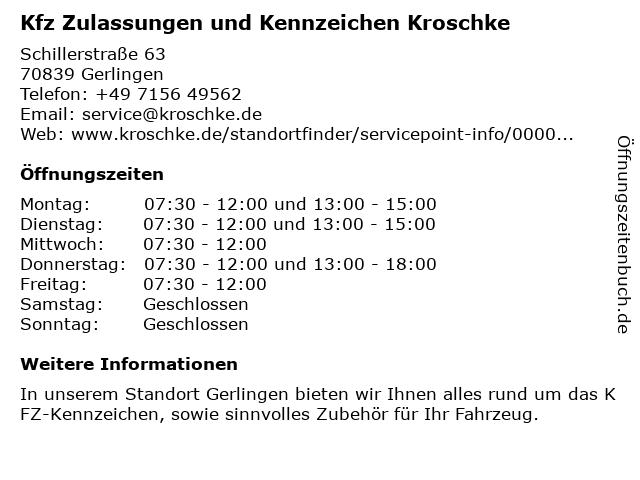 Kfz Zulassungen und Kennzeichen Kroschke in Gerlingen: Adresse und Öffnungszeiten