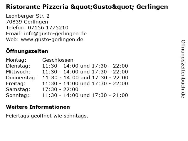 """Ristorante Pizzeria """"Gusto"""" Gerlingen in Gerlingen: Adresse und Öffnungszeiten"""