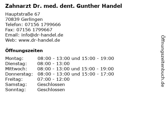 Zahnarzt Dr. med. dent. Gunther Handel in Gerlingen: Adresse und Öffnungszeiten