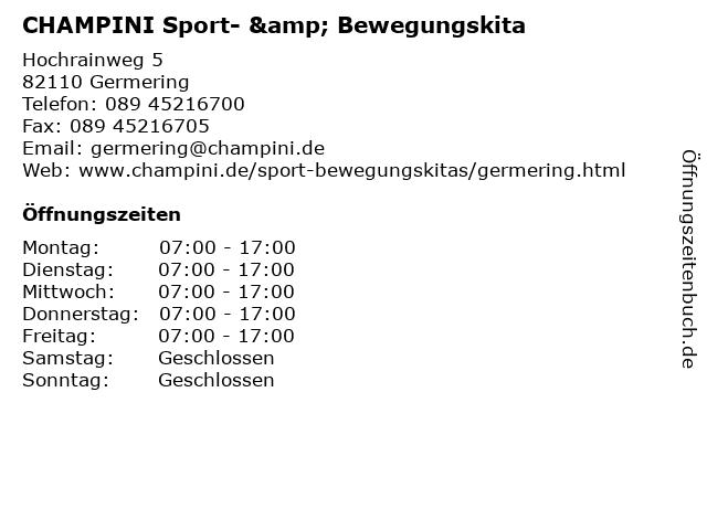 CHAMPINI Sport- & Bewegungskita in Germering: Adresse und Öffnungszeiten