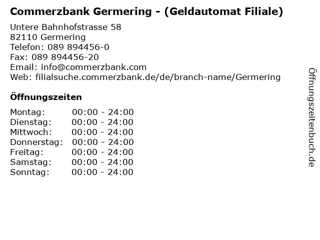 Commerzbank Germering - (Geldautomat Filiale) in Germering: Adresse und Öffnungszeiten