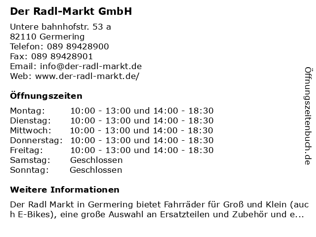 Der Radl Markt GmbH in Germering: Adresse und Öffnungszeiten