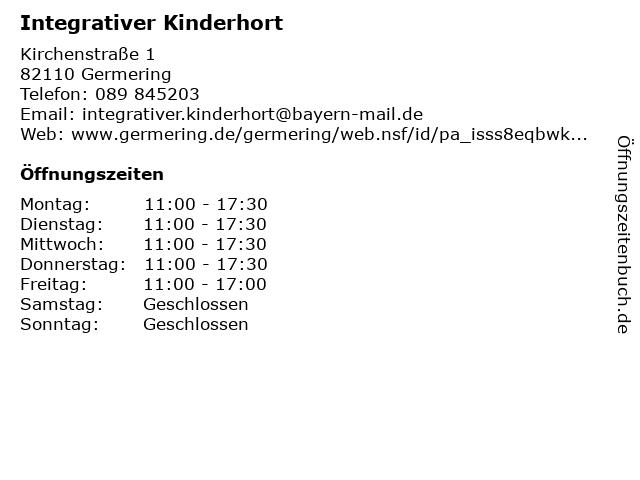 Integrativer Kinderhort in Germering: Adresse und Öffnungszeiten