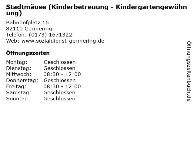 Stadtmäuse (Kinderbetreuung - Kindergartengewöhnung) in Germering: Adresse und Öffnungszeiten
