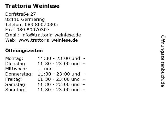 Trattoria Weinlese in Germering: Adresse und Öffnungszeiten