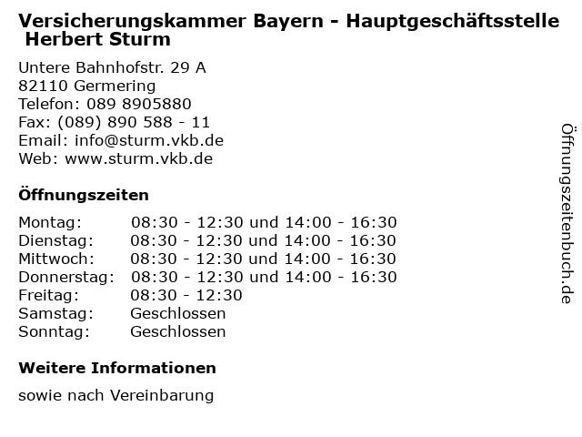 Versicherungskammer Bayern - Hauptgeschäftsstelle Herbert Sturm in Germering: Adresse und Öffnungszeiten