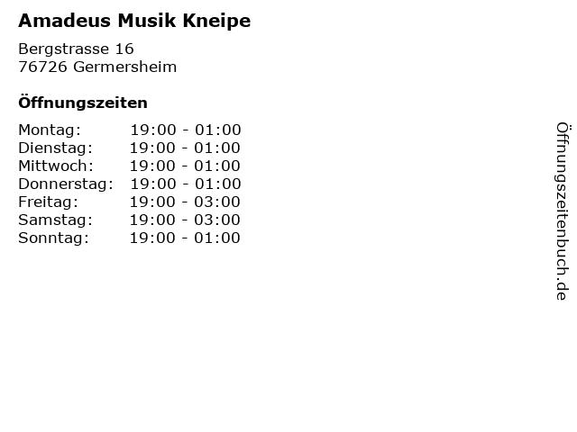 Amadeus Musik Kneipe in Germersheim: Adresse und Öffnungszeiten