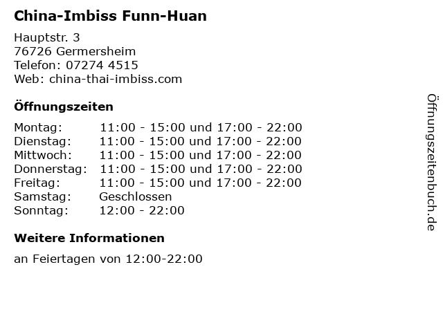 China-Imbiss Funn-Huan in Germersheim: Adresse und Öffnungszeiten