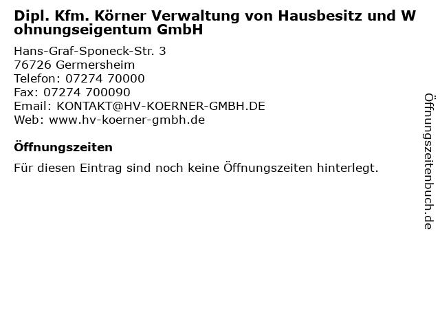Dipl. Kfm. Körner Verwaltung von Hausbesitz und Wohnungseigentum GmbH in Germersheim: Adresse und Öffnungszeiten