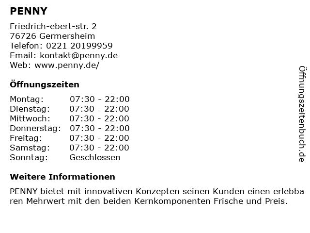 PENNY in Germersheim: Adresse und Öffnungszeiten