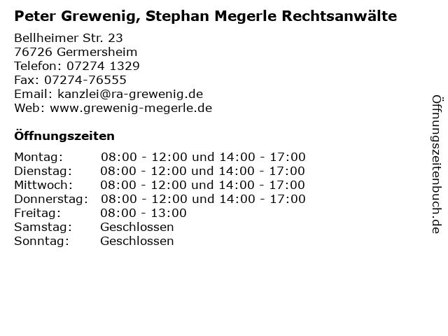 Peter Grewenig, Stephan Megerle Rechtsanwälte in Germersheim: Adresse und Öffnungszeiten