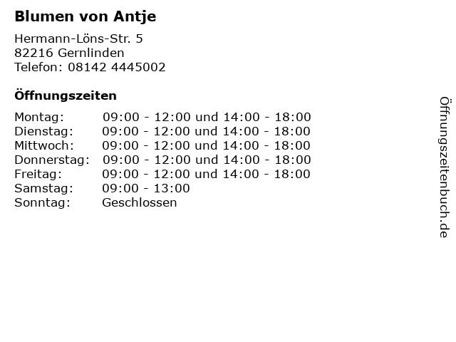 Blumen von Antje in Gernlinden: Adresse und Öffnungszeiten