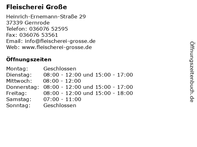 Fleischerei Große in Gernrode: Adresse und Öffnungszeiten