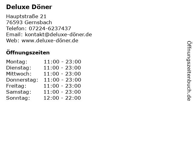 Deluxe Döner in Gernsbach: Adresse und Öffnungszeiten