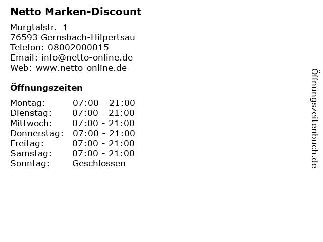 Netto Marken-Discount in Gernsbach-Hilpertsau: Adresse und Öffnungszeiten