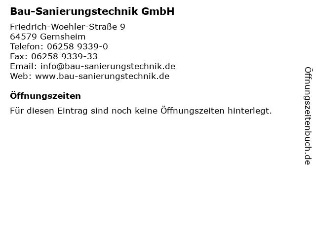 Bau-Sanierungstechnik GmbH in Gernsheim: Adresse und Öffnungszeiten