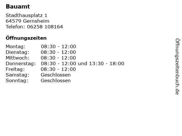 Bauamt in Gernsheim: Adresse und Öffnungszeiten