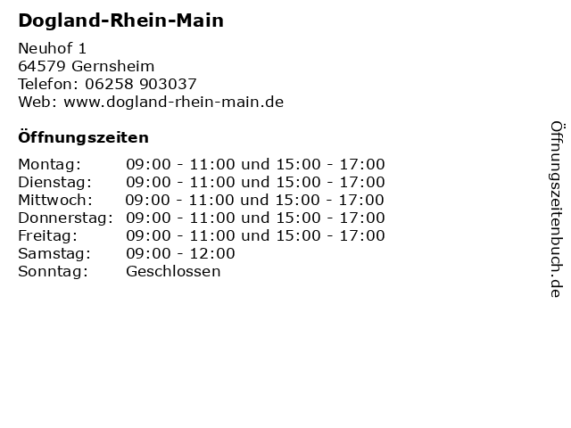Dogland-Rhein-Main in Gernsheim: Adresse und Öffnungszeiten