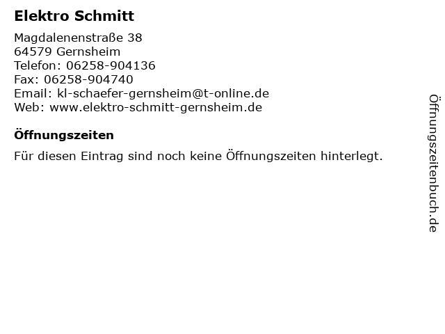 Elektro Schmitt in Gernsheim: Adresse und Öffnungszeiten