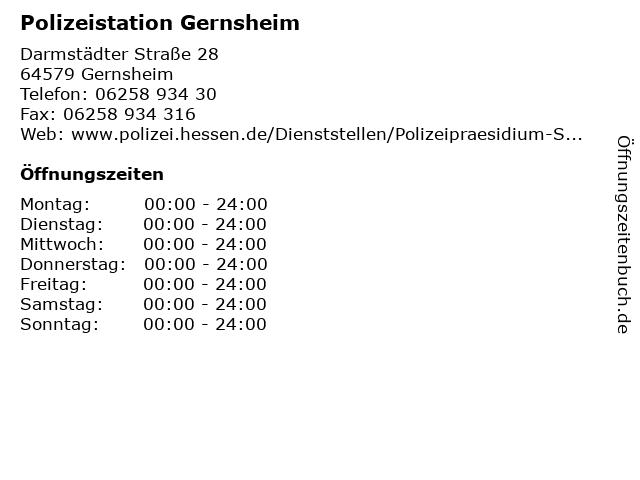 Polizeistation Gernsheim in Gernsheim: Adresse und Öffnungszeiten