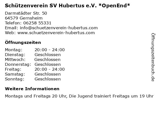 Schützenverein SV Hubertus e.V. *OpenEnd* in Gernsheim: Adresse und Öffnungszeiten
