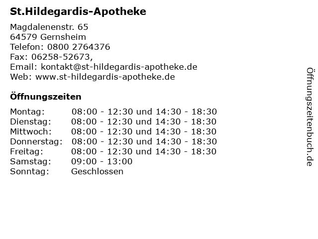 St.Hildegardis-Apotheke in Gernsheim: Adresse und Öffnungszeiten