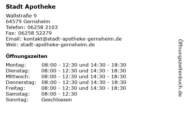 Stadt Apotheke in Gernsheim: Adresse und Öffnungszeiten