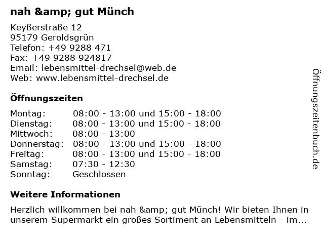 nah & gut Münch in Geroldsgrün: Adresse und Öffnungszeiten